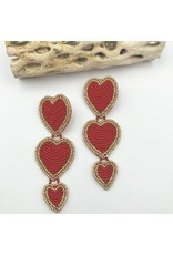 Treasure Jewels Earring Triple Beaded Heart