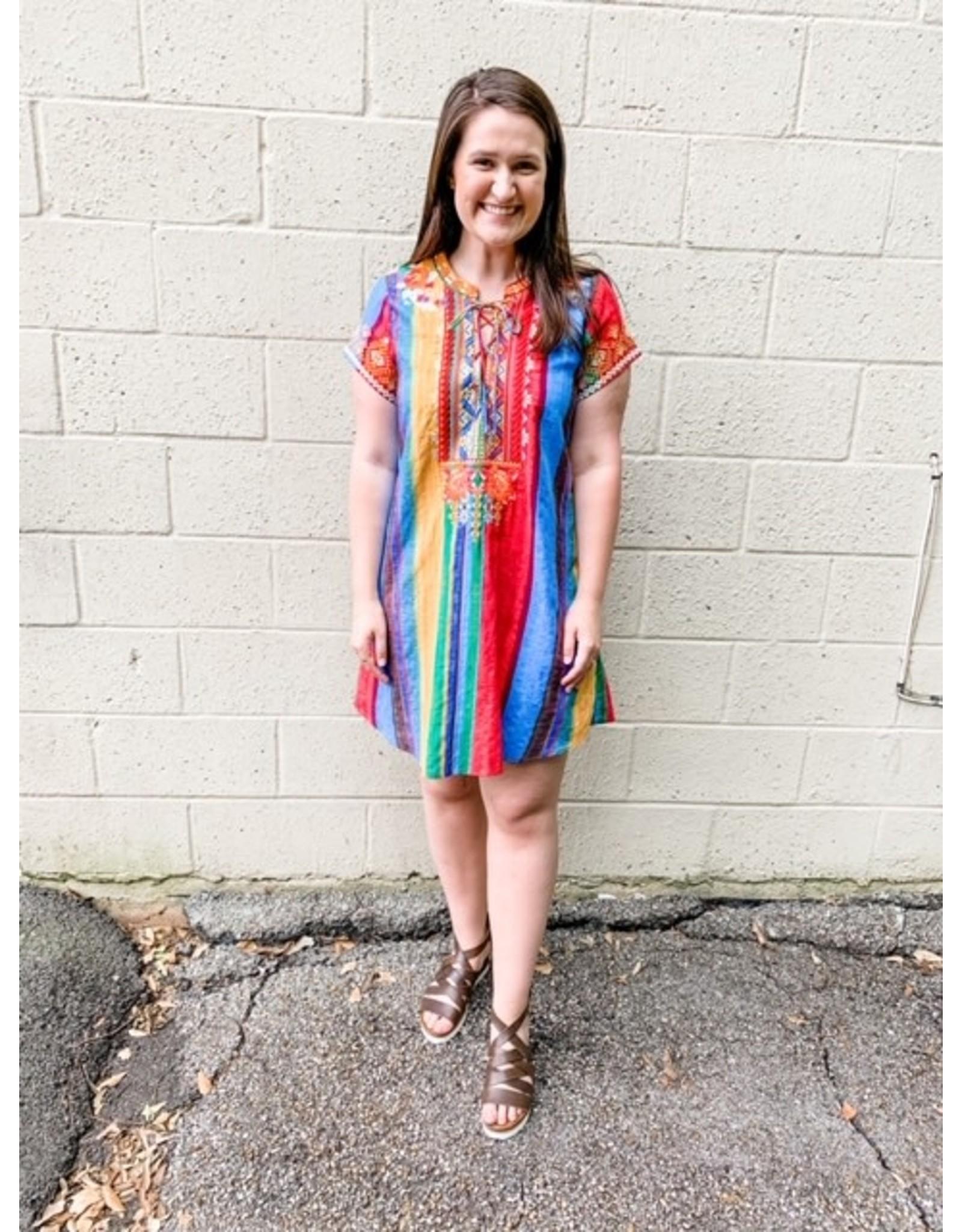 Lace Up Multi Stripe Dress