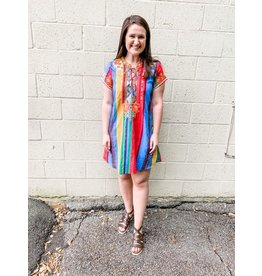 Lace Up Multi Stripe Dress