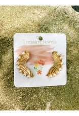 Treasure Jewels Earring Gold Pearl Climber