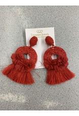 Treasure Jewels Earring Red Tassel Clip On