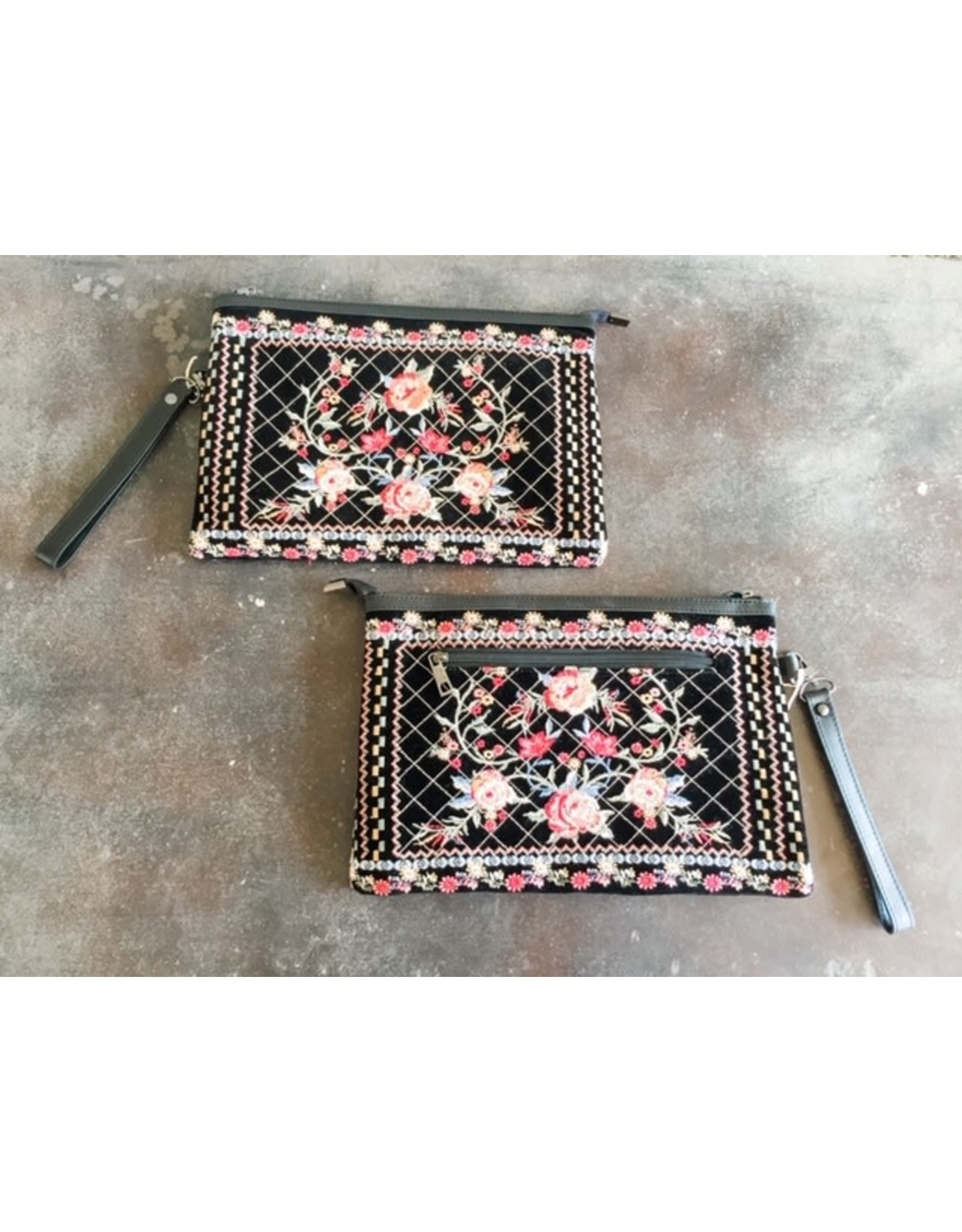 Black Embroidered Zip Pouch