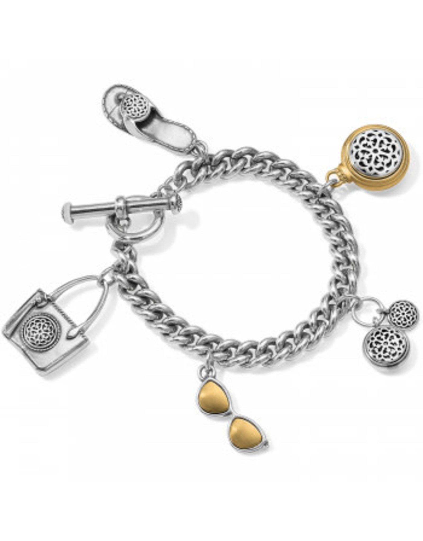 Brighton Ferrara Two Tone Toggle Charm Bracelet