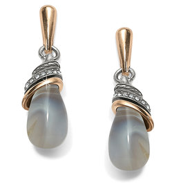 Brighton Neptunes Rings Banded Agate Teardrop Earrings