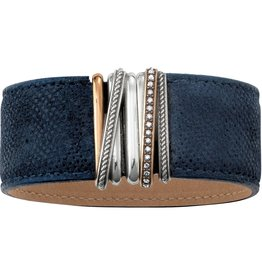 Brighton Neptunes Rings Wide Leather Bracelet Navy