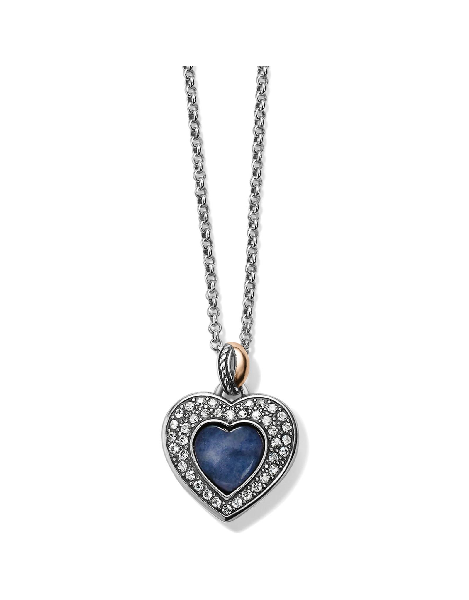 Brighton Neptunes Rings Brazile Blue Quartz Heart Reversible Necklace