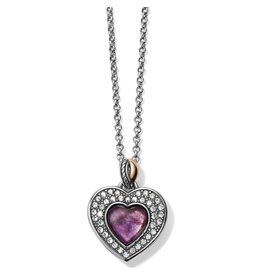 Brighton Neptunes Rings Amethyst Heart Reversible Necklace