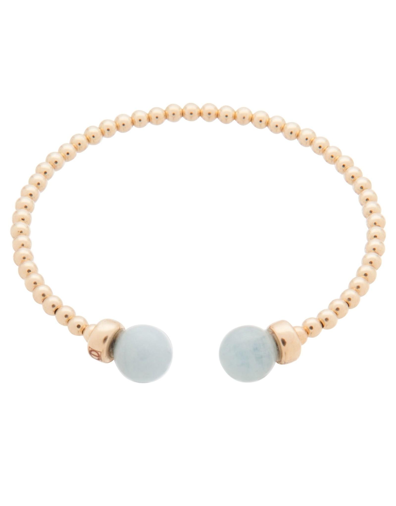 Classic Gold 3mm Bead Cuff Blue Lace Agate