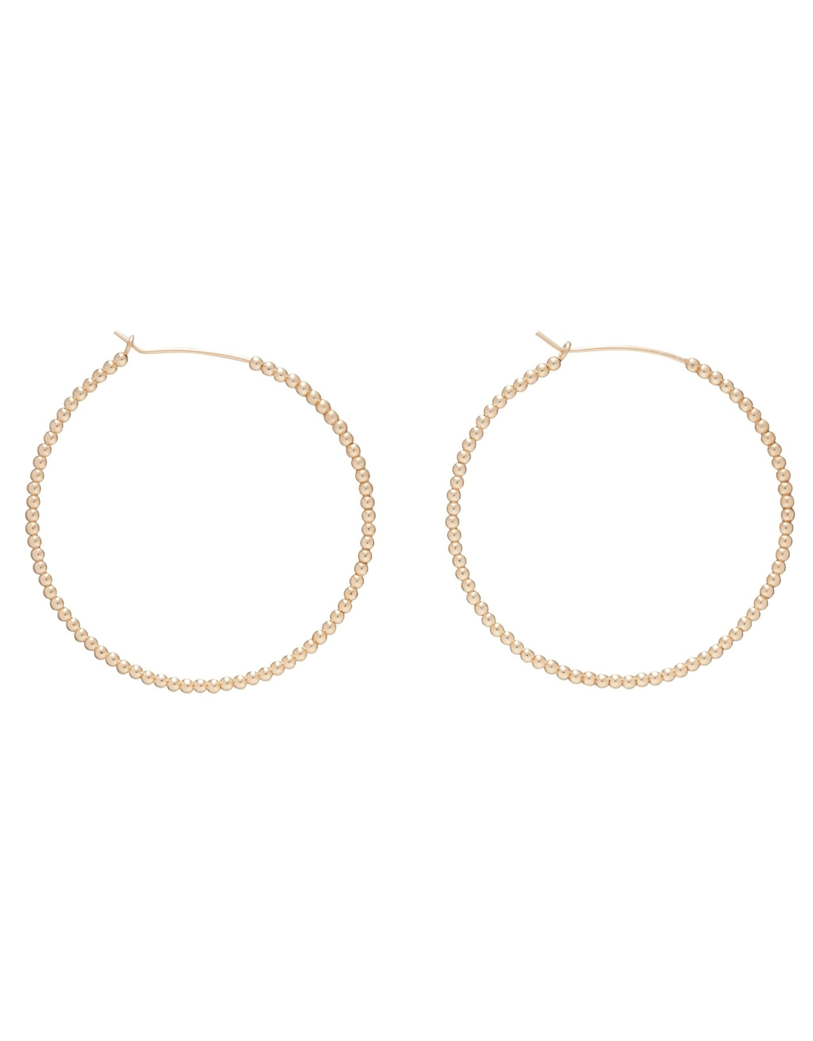 "Beaded Gold 1.75"" Hoop 2mm Bead Gold"