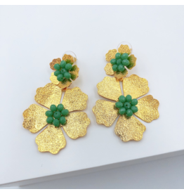 Treasure Jewels Earring Double Daisy Turquoise