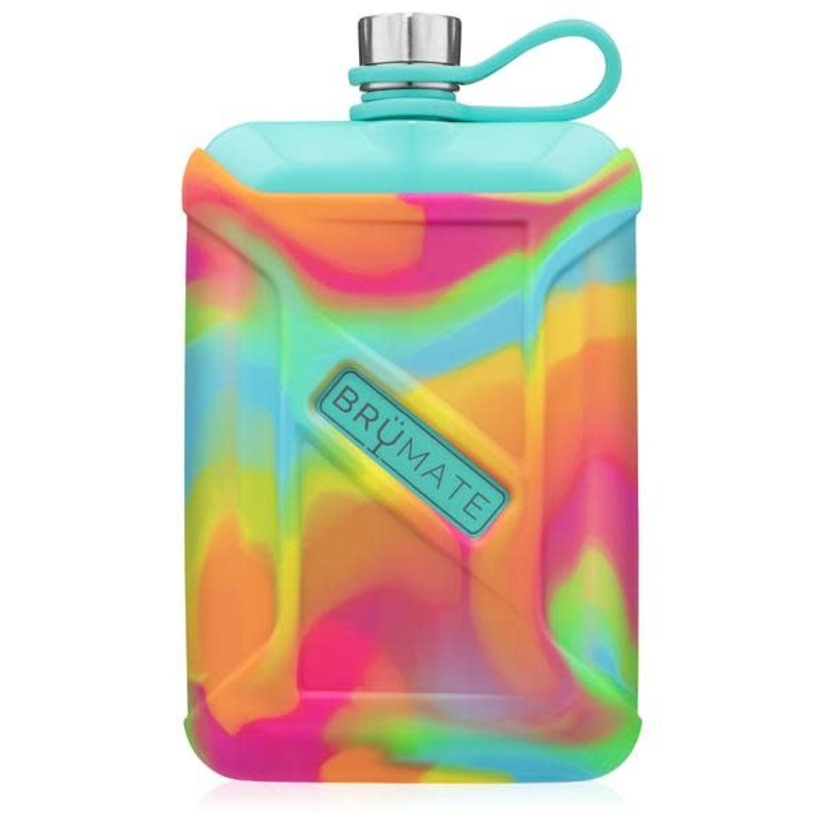 Brumate Liquor Canteen 8 oz Aqua With Rainbow Swirl