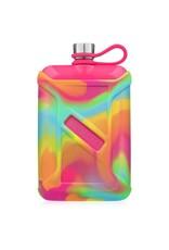 Brumate Liquor Canteen 8 oz Neon Pink With Rainbow Swirl