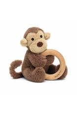Jellycat Bashful Monkey Wood Ring Toy