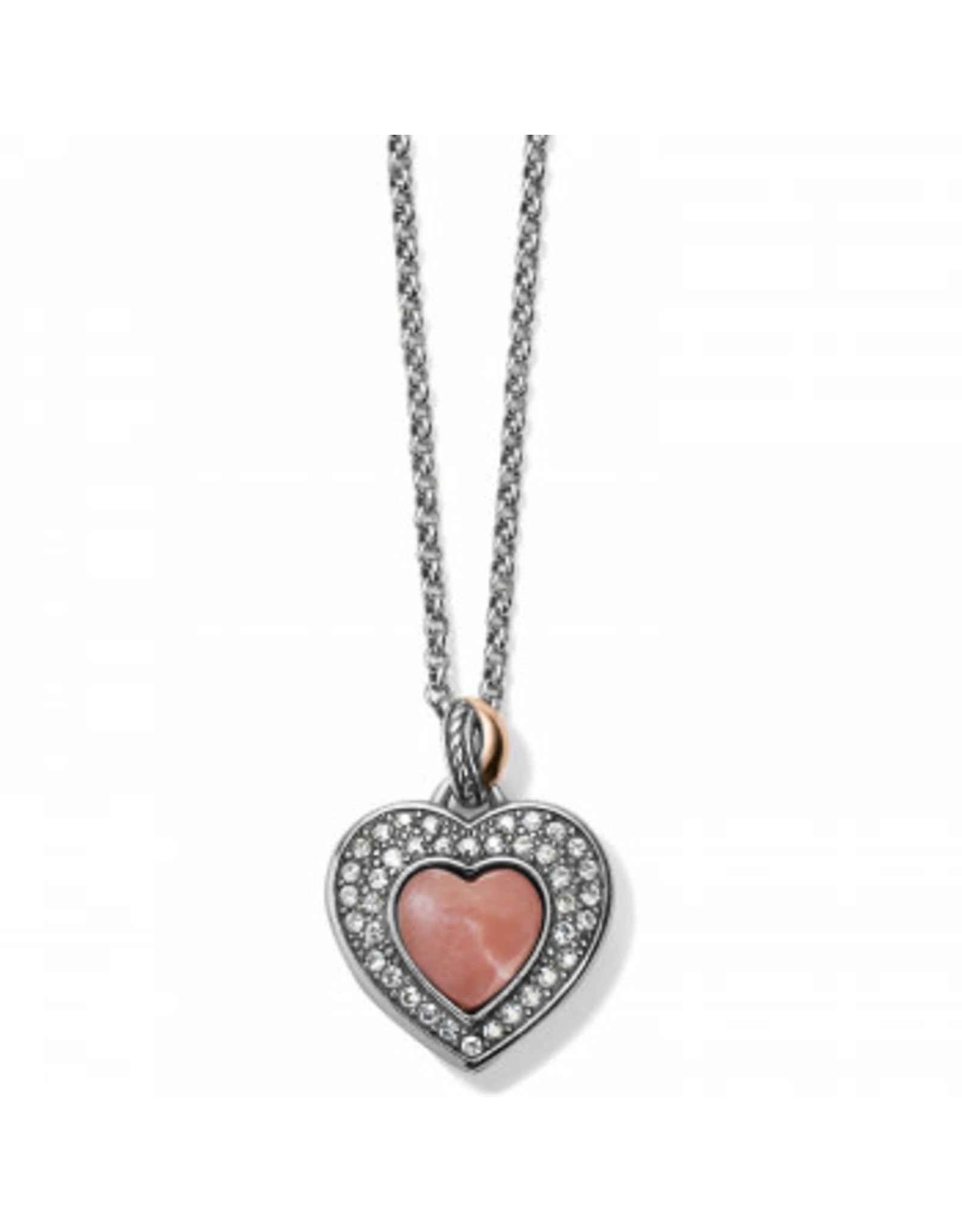 Brighton Neptunes Rings Reversible Pink Opal Heart Necklace