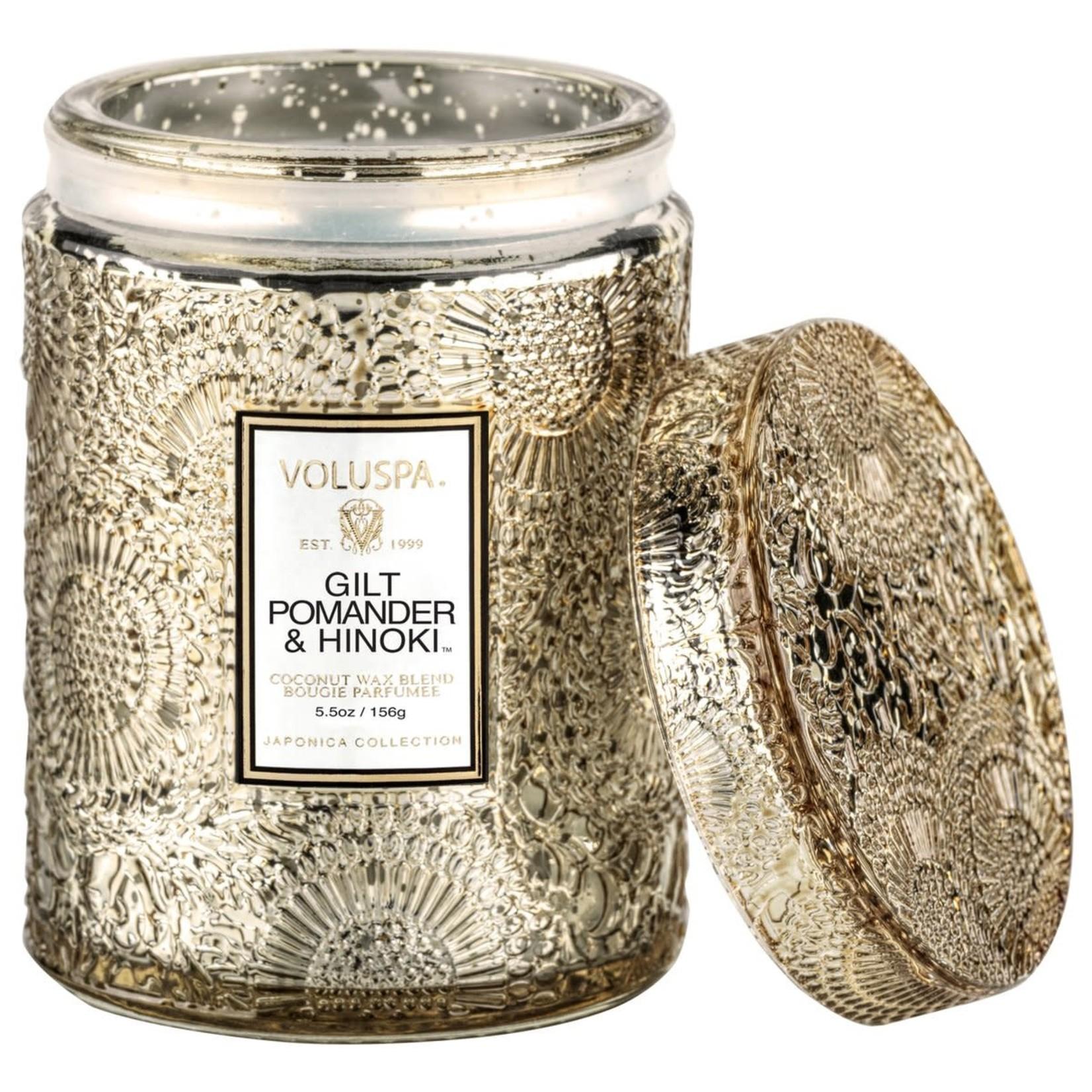 Voluspa Gilt Pomander Hinoki Mini Jar Candle w/ Glass Lid