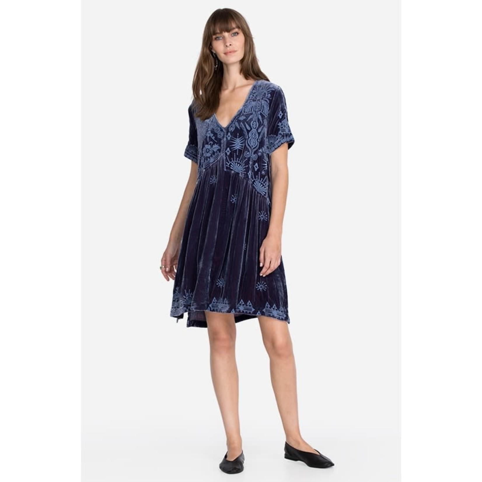 Johnny Was Dylan Velvet Asymmetrical Tunic Dress Blue