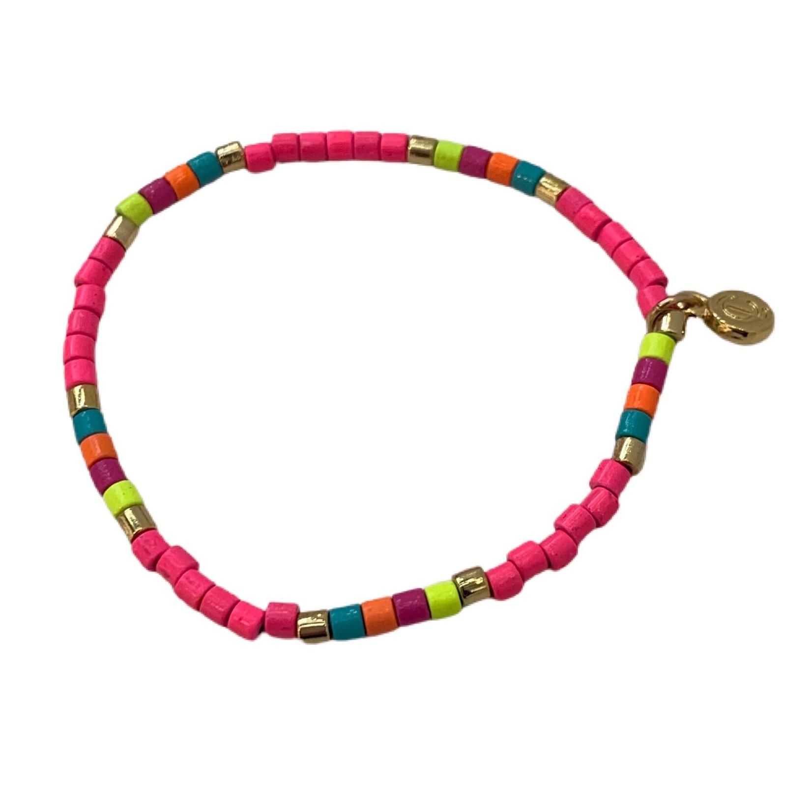 Caryn Lawn Tube Tile Bracelet Neon Pink