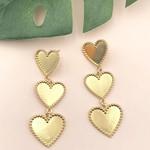 Treasure Jewels Earring Triple Heart Gold