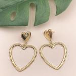 Treasure Jewels Earring Gold Double Heart