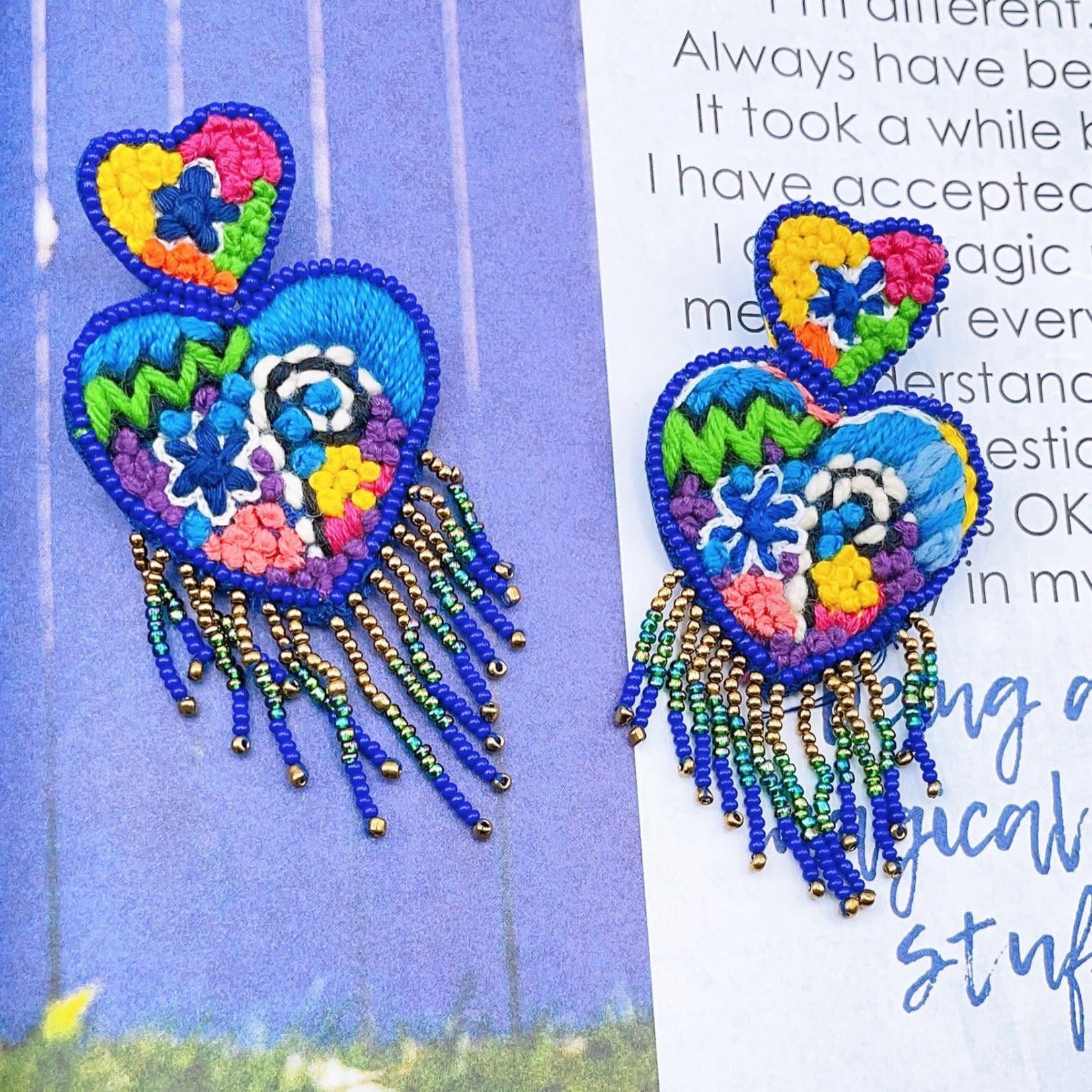 Treasure Jewels Heart Embroidery Earrings