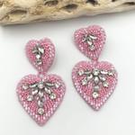 Treasure Jewels Earring Pink Double Heart