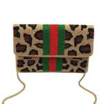 Beaded Clutch -  Cheetah Print w/ Stripes
