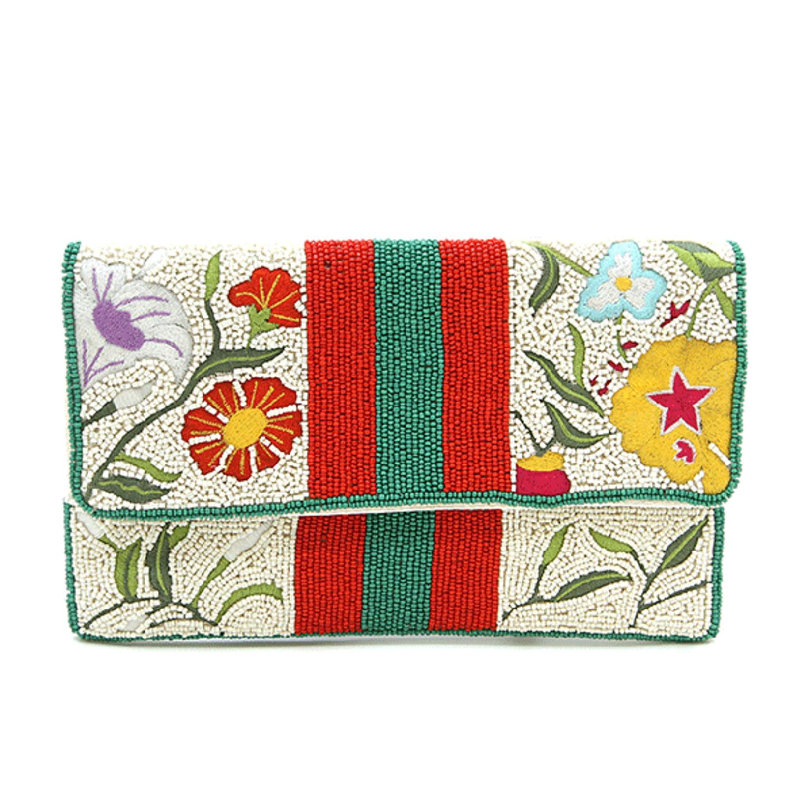 Beaded Clutch -  Multi Floral w/ Stripes