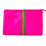Cowhide Stripe Clutch Hot Pink