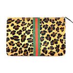 Cowhide Stripe Clutch Leopard