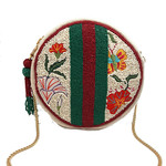 Round Red/Green Floral Beaded Stripe Bag
