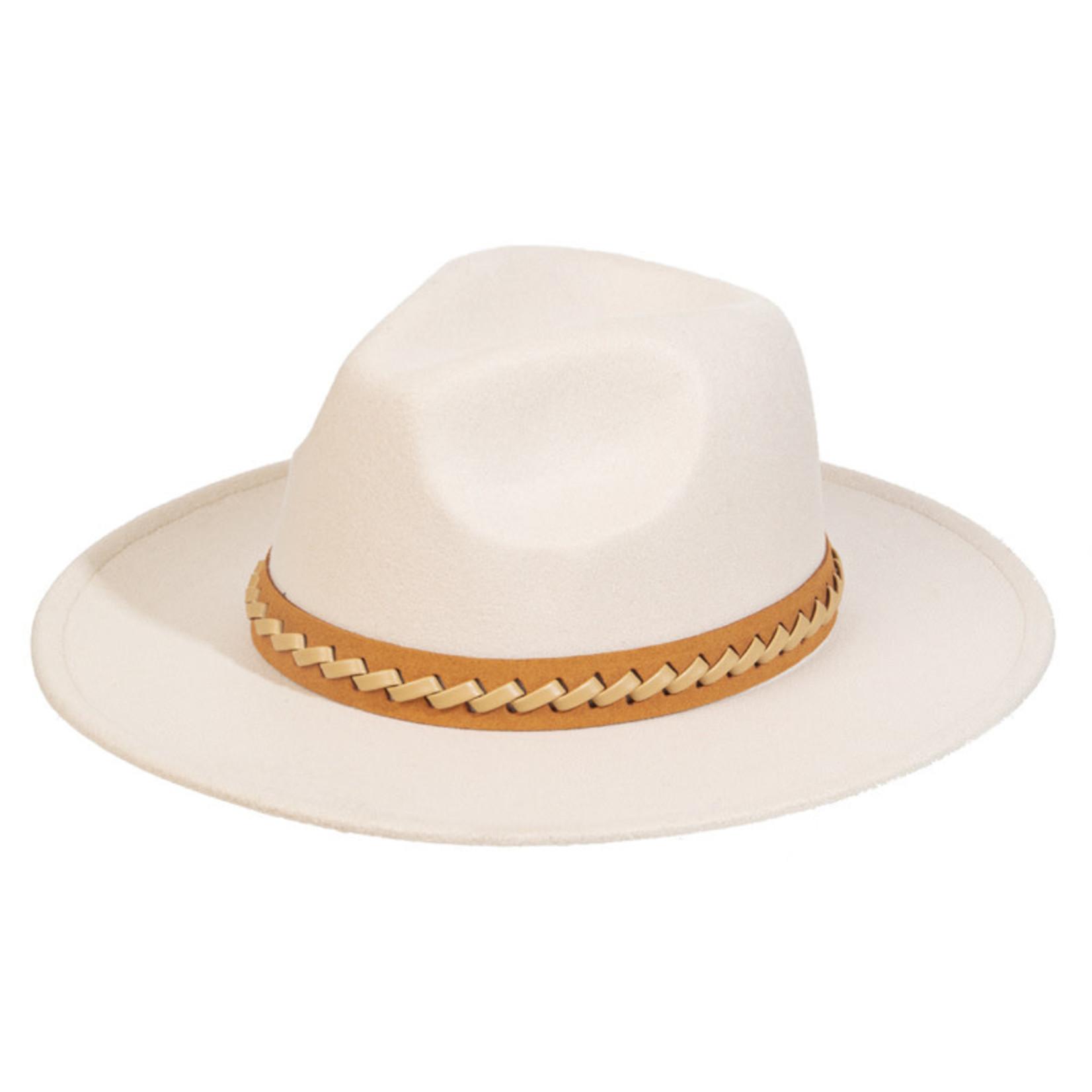 Felt Hat Ivory Fedora with Braided Band