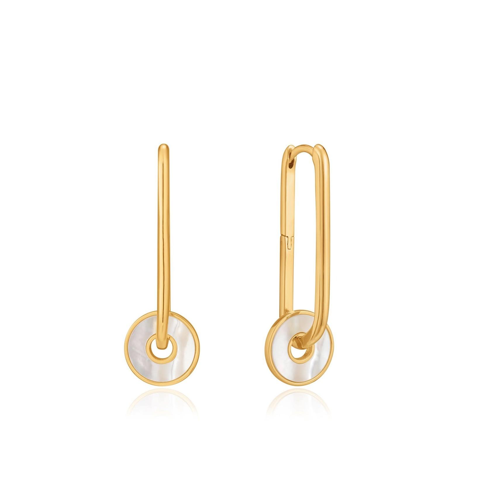 Ania Haie Mother of Pearl Disc Hoop Earrings