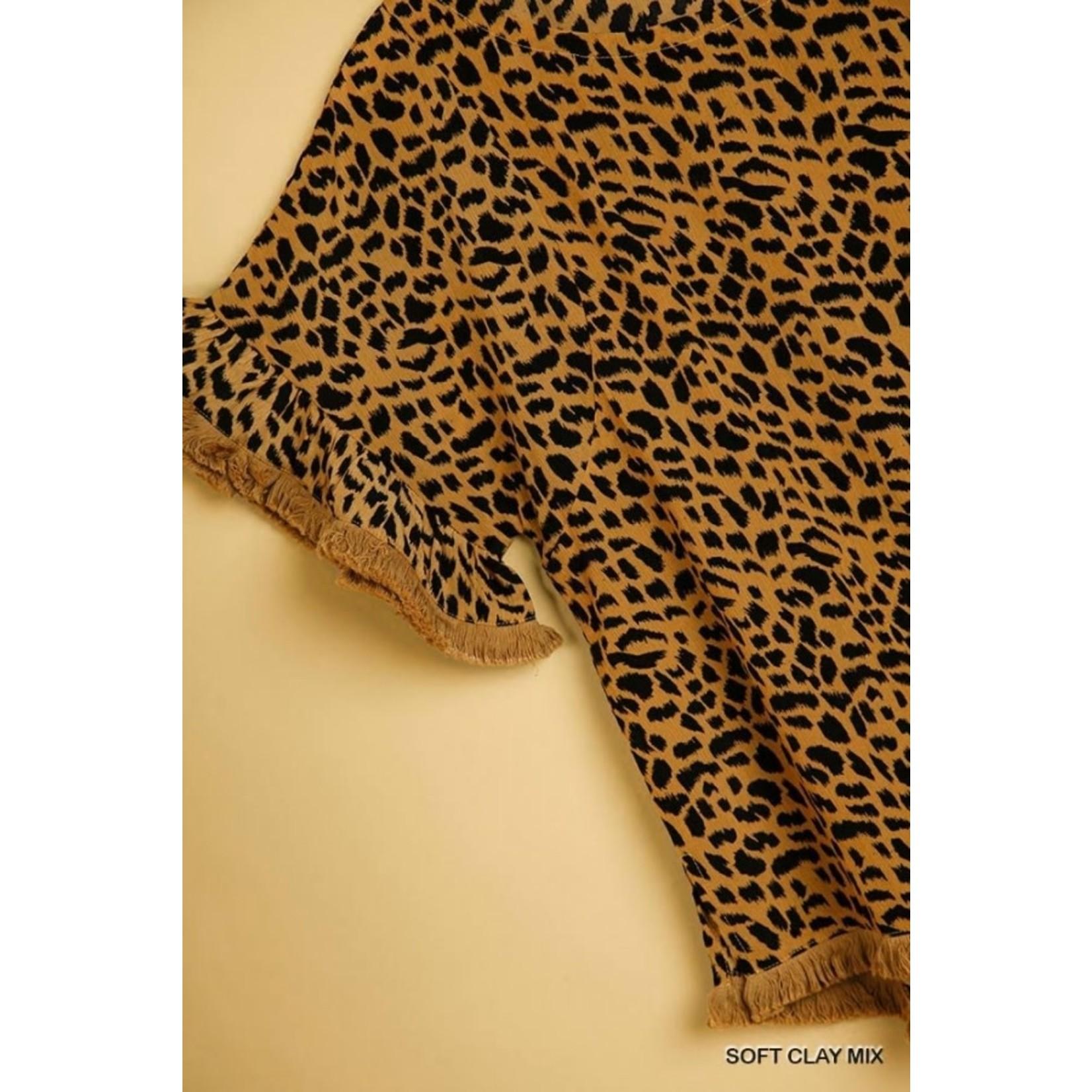 Umgee Animal Print Bell Sleeve Top with Frayed Hem