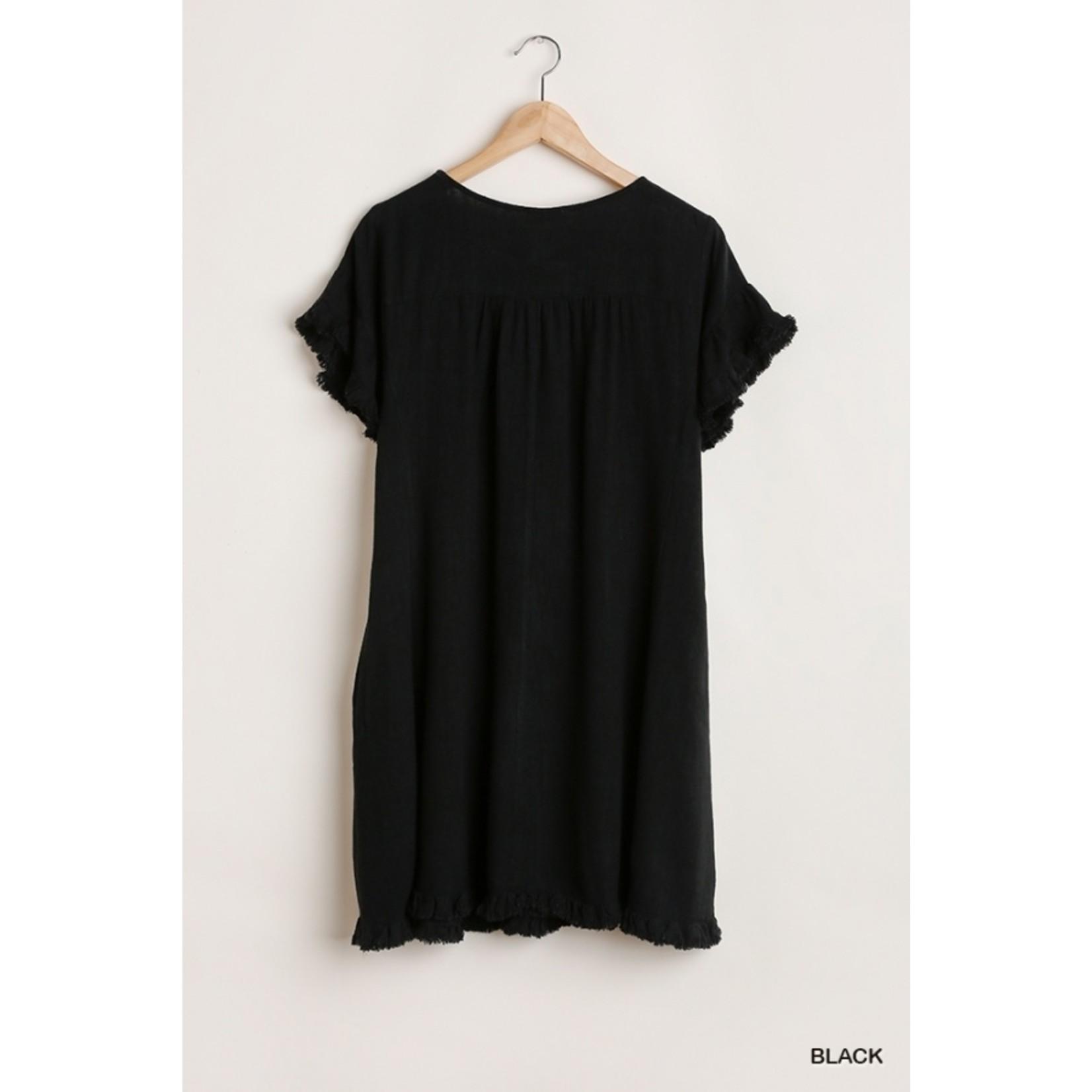 Umgee Short Ruffle Sleeve Dress Black