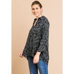 Umgee Charcoal  Animal Print V-Neck Collared Tunic