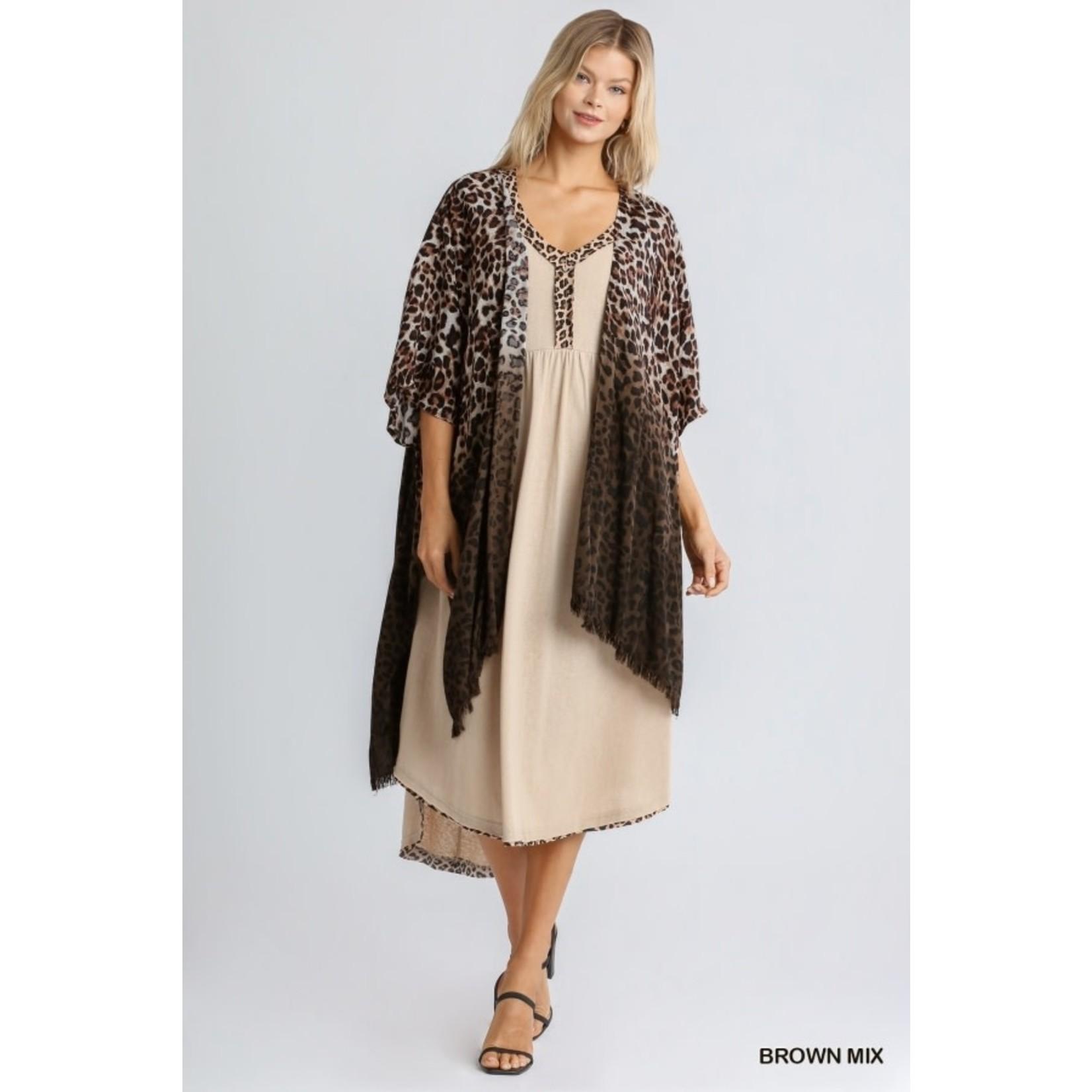 Umgee Animal Print Ombre Short Sleeve Kimono