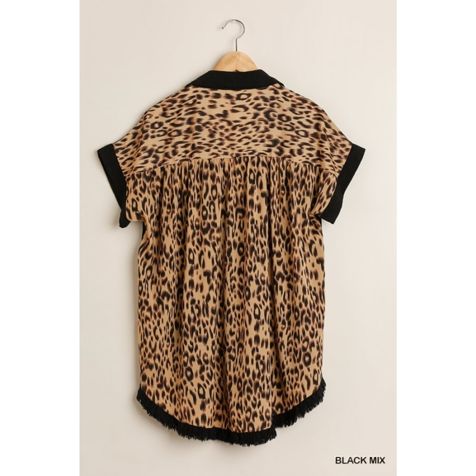 Umgee Black Animal Back Print Collared Button Front Top