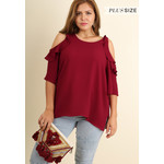 Umgee Cold Shoulder Blouse with Ruffle Details