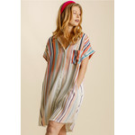 Umgee Color Mix Bleached Striped Shirt Dress