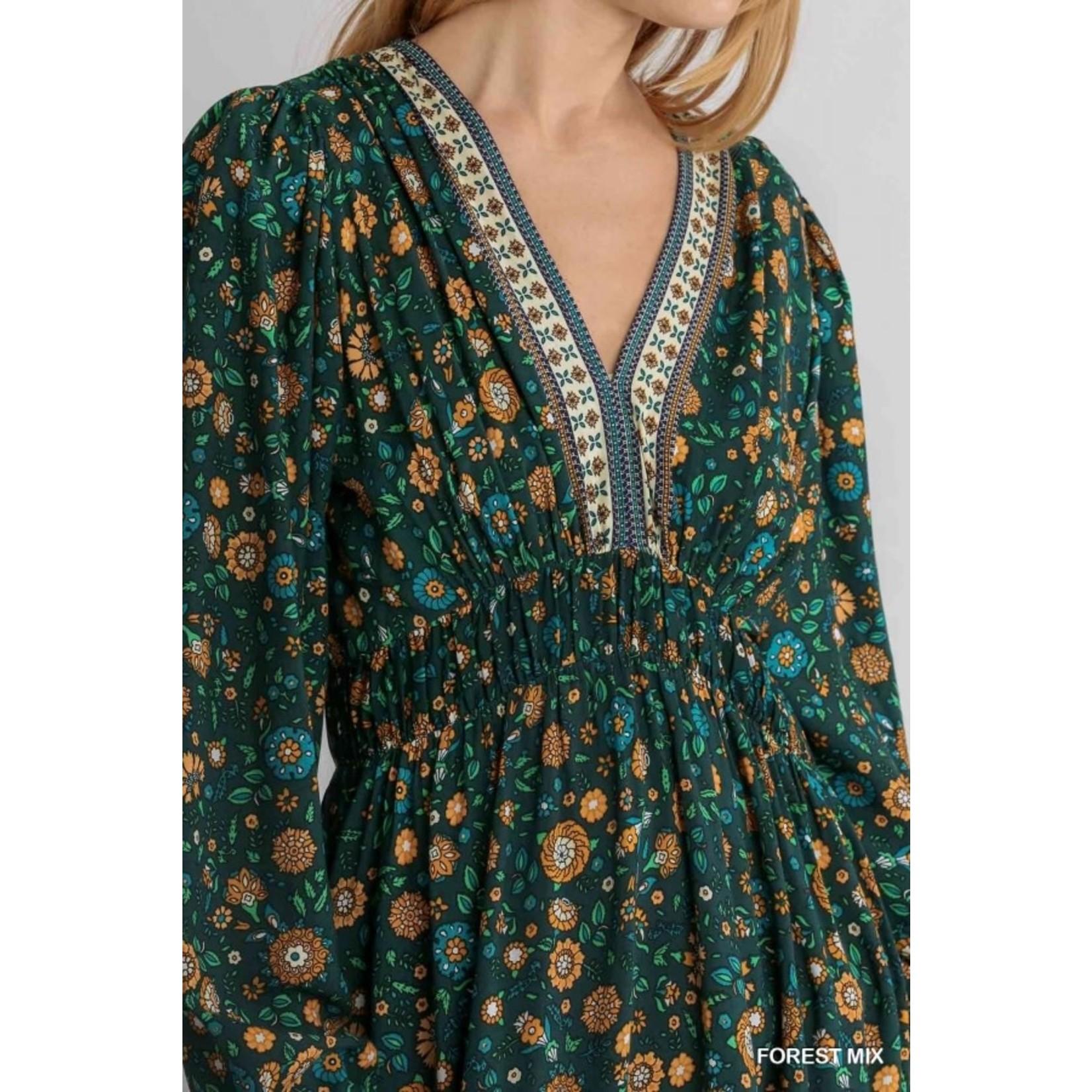 Umgee Forest Floral  Print V-Neck Babydoll Dress