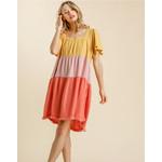 Umgee Honey & Blush Linen Blend Color Block Dress