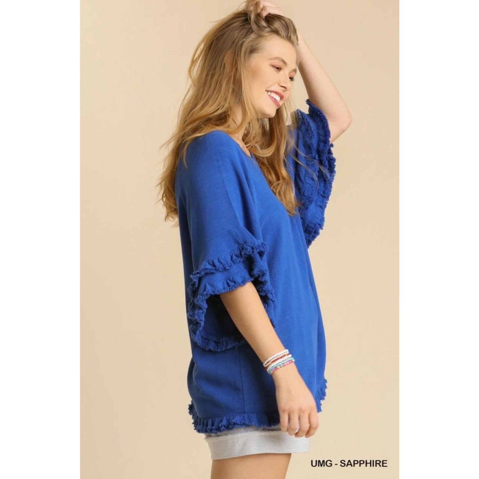 Umgee Ruffle Sleeve Top with Frayed Hem Sapphire