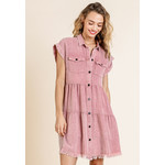 Umgee Light Mauve Garment Dye Ruffle Dress