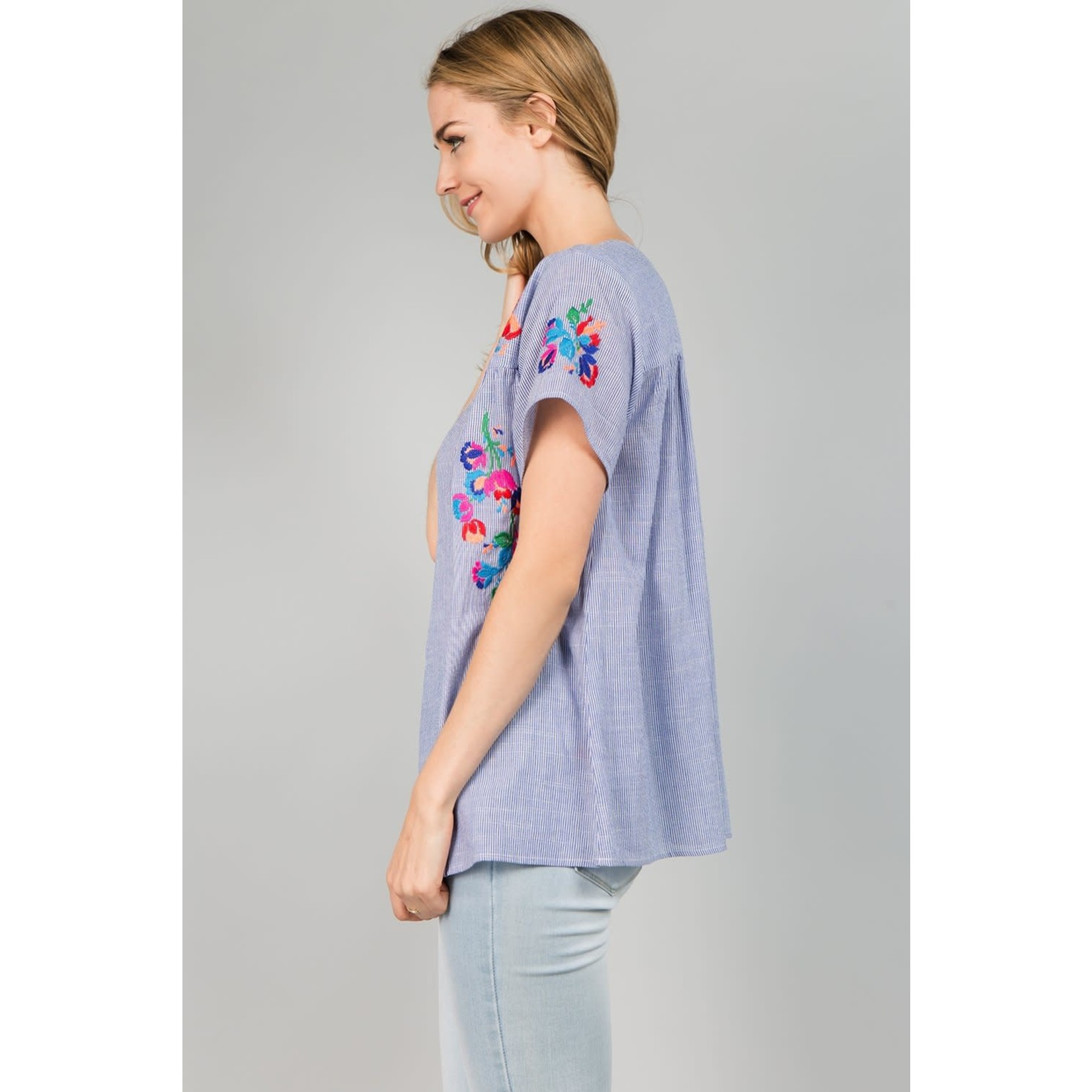 Top w/ Floral Embroidery Blue Stripe