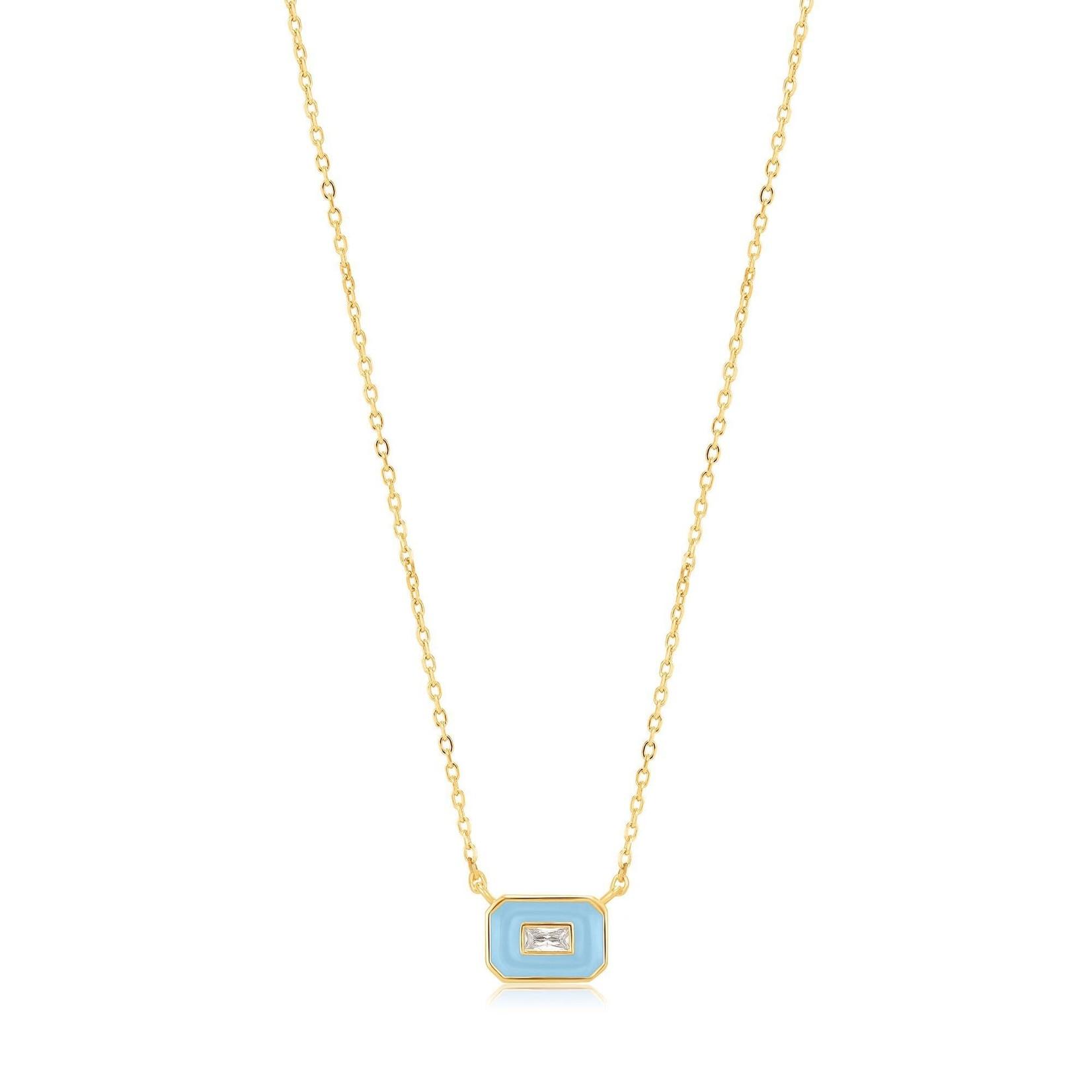 Ania Haie Powder Blue Enamel Emblem Necklace