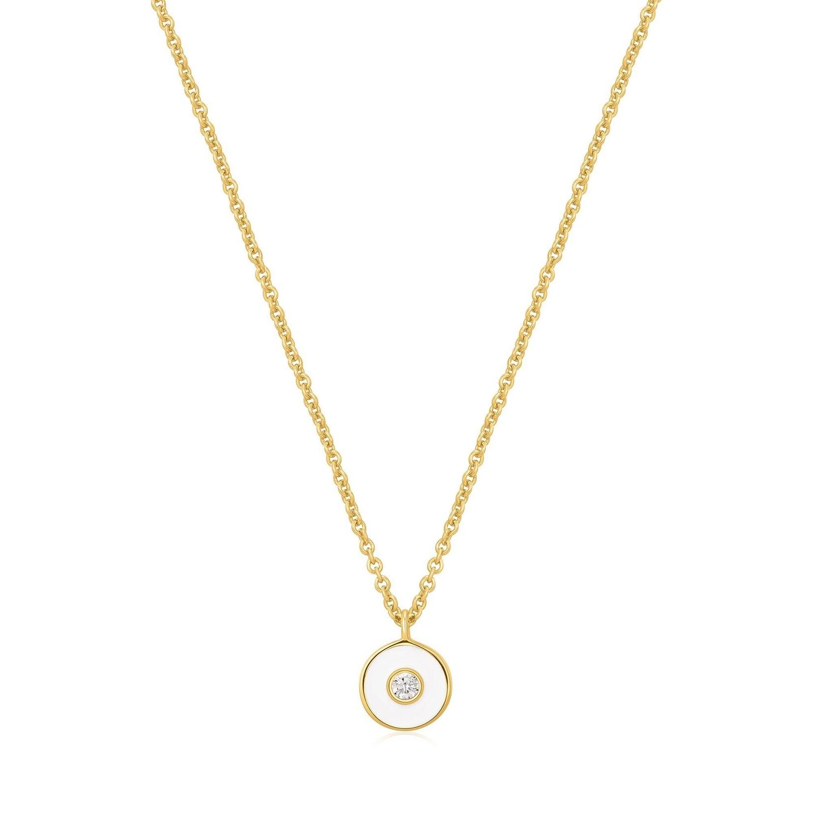 Ania Haie Optic White Enamel Disc Necklace