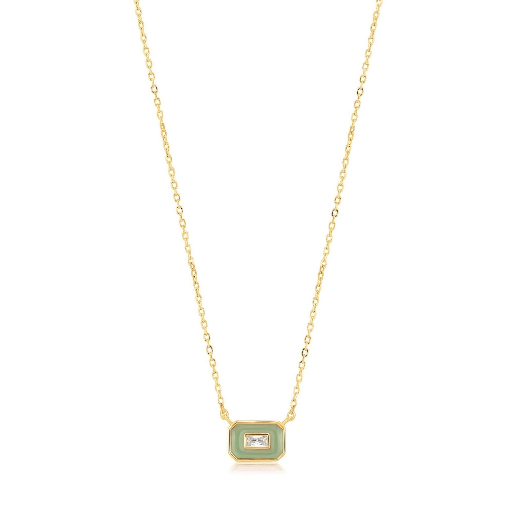 Ania Haie Sage Green Enamel Emblem Necklace