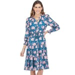 Cinch Waisted Tiered Dress Teal Floral