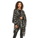 Ruana Wrap Grey Leopard
