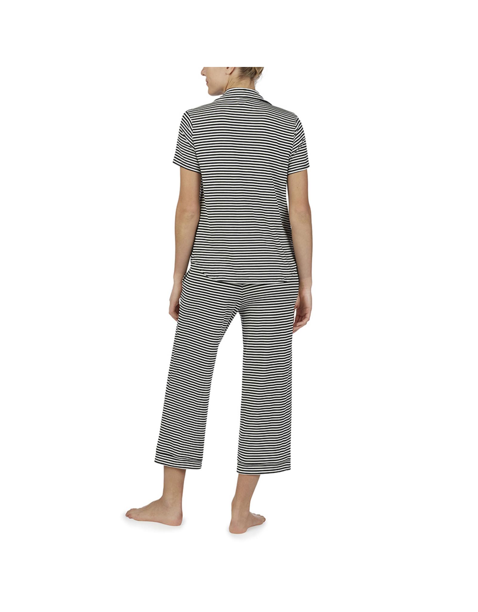 Kate Spade Black & White Stripe Capri Pajama Set